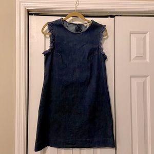 Hope & Harlow Denim Frayed-Sleeve Dress